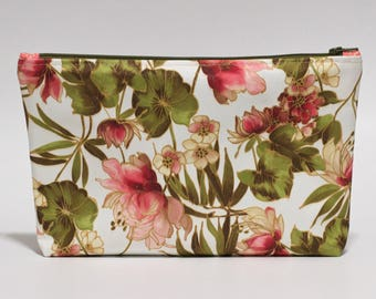 Pink Floral Makeup Bag Waterproof Brown Pink Green Lined Clutch Purse Knitting Project Bag