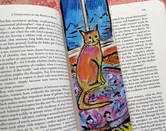 Cat Bookmark, Cat by the Window and Gerbera Flowers, Gerbera, Daisy, Flower bouquet, Laminated Bookmarks, Cat Painting, Flower Painting