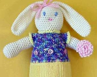Bunny CROCHET PATTERN Towel Holder Scrubbie Blossom Bunny Housewares