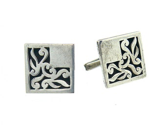 Vintage Mexican Cufflinks, Sterling Silver 925, Hand Carved Pierced Shadowbox Cufflinks, Square
