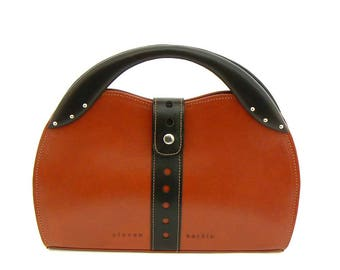Two-Tone Leather Handbag in Tan with Black Top Handle