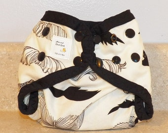 Preemie Newborn PUL Diaper Cover with Leg Gussets- 4 to 9 pounds- Mustaches- 20027