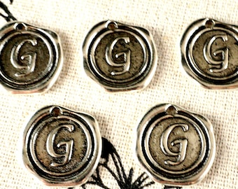 Alphabet letter G wax seal charm silver vintage style jewellery supplies