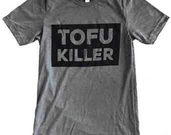 Tofu Killer T-shirt - Vegetarian Parody Mens shirt -  (Available in sizes s, m, l, xl)