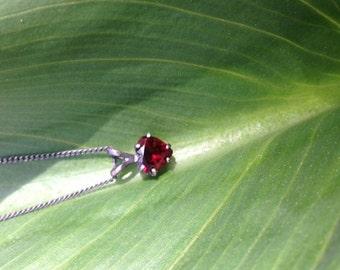 oxidized silver deep red garnet heart necklace