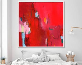 """Giclée print of Abstract art Acrylic painting Extra large wall art """"My new dress 1""""  Bold Red painting with pink"""
