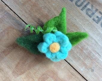 Needle Felted Blue Turquoise Cornflower Wool Flower Brooch Pin Jewelry