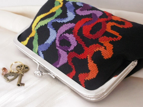 Handmade, hand embroidered clutch. Black, rainbow colors. RIBBONS by Lella Rae on Etsy
