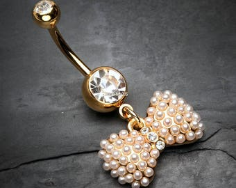 Golden Pearlescent Bow-Tie Sparkle Belly Button Ring