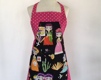 Apron-Frida-Frieda-Anime-Cartoon-Esperanza-Mexican Apron-Pink-Black Polka Dots-Folk-Artist-Palette-Painter-Heart-Doves-Reversible-2 in One!