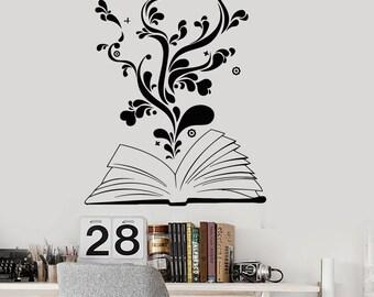 Wall Vinyl Decal Book Reading Flower Heart Romantic Teen Decor 2345di