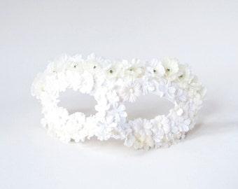 Masquerade Mask, White Flower Masquerade Mask, Women Venetian Mask, Mardi Gras Mask, Bridal Masquerade, Women's Masquerade Mask - The Leila