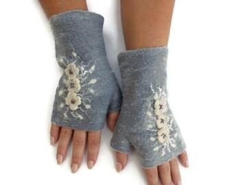 Felted Fingerless Gloves Fingerless Mittens Arm warmers Wristlets Merino Wool Steel Gray White Floral