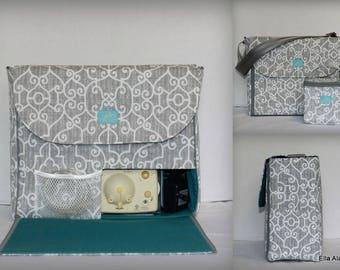 Alana style Breast Pump Bag in PP Ramey Lt Gray print