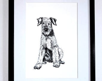 Airedale Terrier. Gift. Giclée print. Home decor. Art illustration. Gift for friend. Wall decoration. Original drawing. Contemporary.