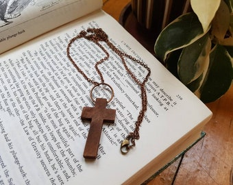 Wood Cross Necklace, Cross Chain Necklace, Dark Brown Wood Cross, Brass Cross Necklace, Long Necklace