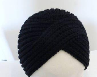 Black 100% Merino Wool French vintage turban Hat