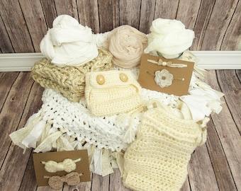 Neutral Newborn Photo Prop Posing Set, 11 Piece Newborn Boy and Girl Set