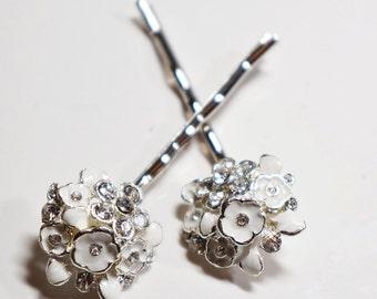 White Rhinestone Enamel Flower Bobby Pin Set