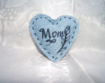 Denim heart magnet,  Valentine's Day
