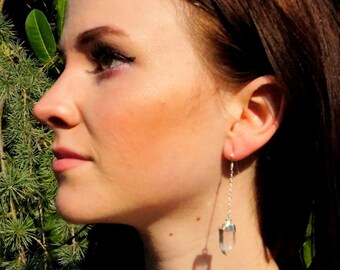 Quartz Earrings / Crystal Earrings / Silver Earrings / Quartz Crystal / Raw Quartz Earring / Rough Earrings / Gold Quartz Earring