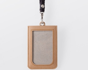 Washable Paper ID Badge Holder in Sahara Camel