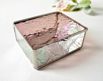 Amethyst Iridescent Glass Box, Glass Display Box, Jewelry Box, Valentines Day Gift For Her, Wedding Display Box, Purple Glass Jewelry Box.