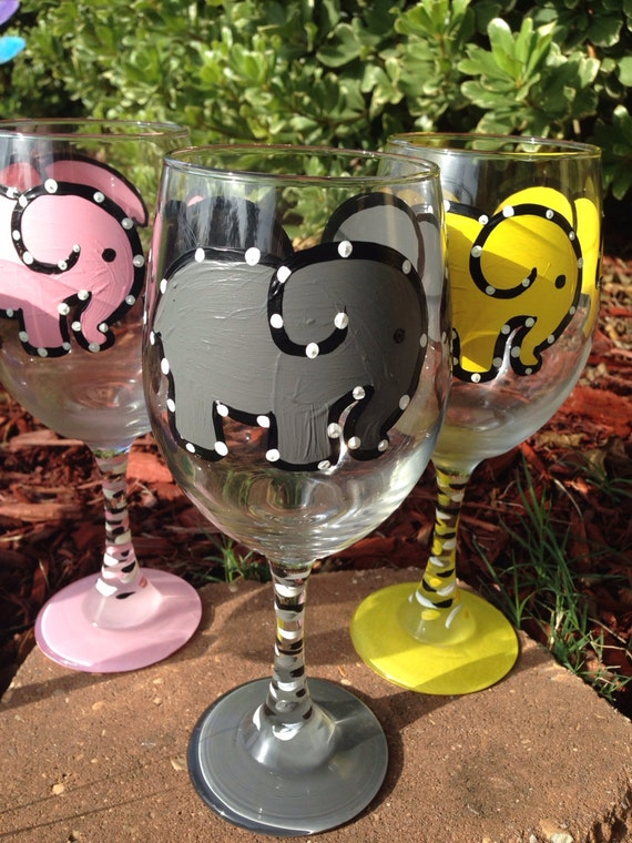 Gray Elephant Grey Elephant Painted Wine glass