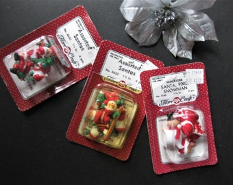 """Vintage Lot, NOS Miniature Santa, Pixie, 11 Pieces, Made in Hong Kong, 1"""" Tall"""