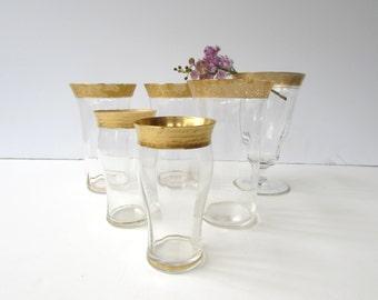 Antique Glassware Assortment - Vintage Glassware - Gold Banded - 22k Gold Encrusted - Tumblers - Whiskey Glasses - Juice Glasses - Goblet -