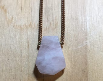Dainty Rose Quartz Slice Necklace
