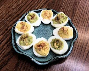 Deviled Egg Tray/Egg Dish/Bllue-Green Egg Tray/Pottery Egg Tray/Stoneware Deviled Egg Tray/ Pottery Egg Plate - Small Size