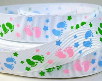 "7/8"" Baby Footprints - In Pastel Colors - Printed Grosgrain Ribbon"
