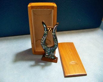 Mother of Pearl Inlay Miniature Instrument Harp