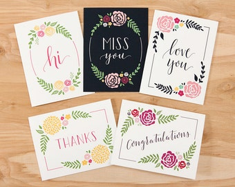 """Set of 10 – Calligraphy Greeting Cards – 4.25"""" x 5.5"""" – Hi, Miss You, Love You, Thanks, and Congratulations"""