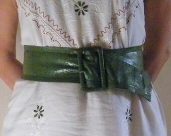 Vintage women  green belt  Faux leather belt floral Belt boho hippie Bohemia wide belt