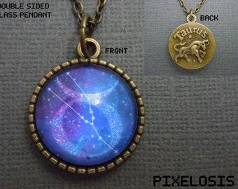 Taurus Zodiac Necklace, Taurus Constellation Necklace, Zodiac Symbol, Astrology Jewelry, April May Birthday Gift, Star Sign, Zodiac Jewelry