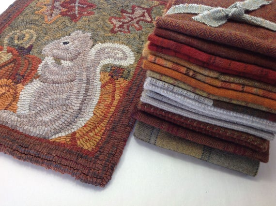 Wool Pack for Silvia Squirrel, WP213, Rug Hooking Wool, Autumn Colors, Fall Wool Pack