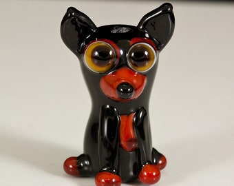 Black and Tan Chihuahua Lampwork Dog Bead