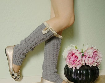 Beautiful gift for her .Lacy Leg Warmers.Cute Gray leg warmers,boot socks,gift for her,boot long cuffs with cute white lace
