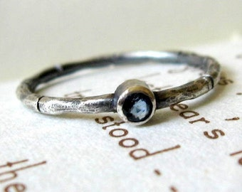 Hand Carved Bamboo Stack Ring with Sapphire