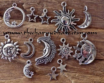 4/13 x Celestial Charms Pendants, Crescent Moon Sun Stars Charms, Mixed Pagan Wicca Wiccan Charms, UK Jewelry Making Supplies