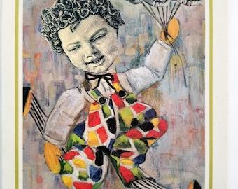 Baby and Skulls, Hand Made Collage, Vintage Paper Ephemera,  Skulls