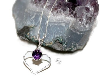 Sterling silver Amethyst necklace, womans, heart, artisan, contemporary, handcrafted, love, valentines, birthstone, purple, free shipping