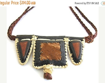 SALE Clearnce SALE Ethnic African TRIBAL Leather fur Vintage Necklace