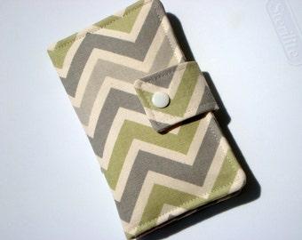 iPhone Card Wallet - Handytasche - für alle Iphone 4, 5, 6 und 6 plus-Reed-oliv-grün und grau Chevron Zick-Zack