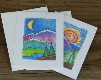 Mountain Note Cards, blank inside, set of six note cards, Mountain and Moon, Mountain and Sun,  mountain lover gift, gift set, friend gift