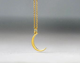Tiny solid gold Crescent Moon Necklace 14k  Pendant Gift for Her to the moon and back birthday Gift bridal Dainty necklace lunar