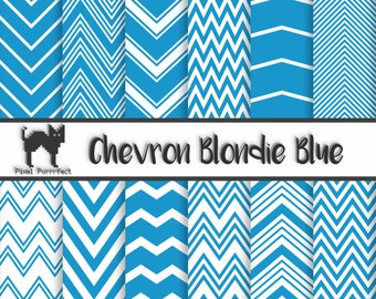 Blondie Blue Chevron Printable 12x12 Digital Scrapbooking Paper