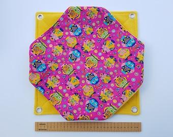 Double Honeycomb Rat Hammock (owls on bright pink/yellow)